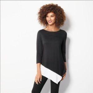 NWOT Avon Asymmetrical Colorblock Black/White Top